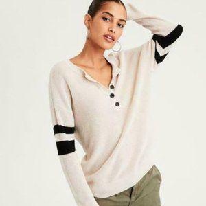 AE Varsity Striped Pullover Sweater, Cream/Black